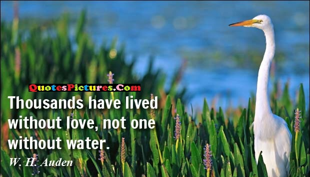 Great Water Quote - Thousands Have Lived Without Love, Not One Without Water. - W.H. Auden