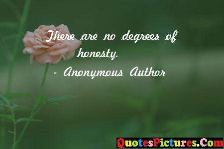 Honesty Quote - There Are No Degrees Of Honesty. - Anonymous Author