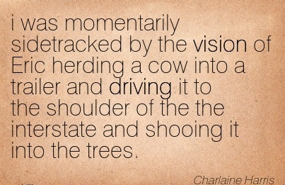 i was momentarily sidetracked by the vision of Eric herding a cow into a trailer and driving it to the shoulder of the the interstate and shooing it into the trees.