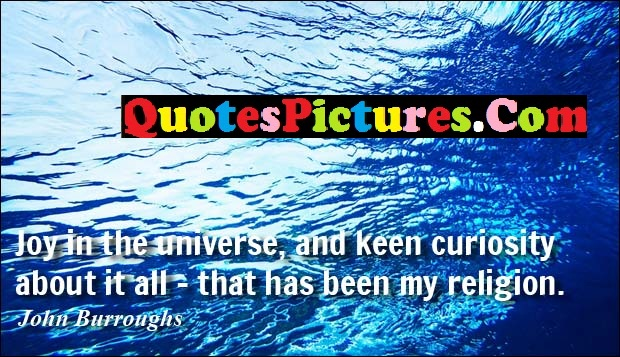 Inspiring Comfort Quote - Joy In The Universe, And Keen Curiosity About it All All- That has Been my Religion.