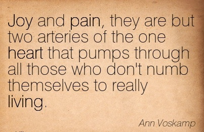 Joy and pain, they are but two arteries of the one heart that pumps through all those who don't numb themselves to really living.  - Ann Voskamp