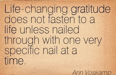Life-changing gratitude does not fasten to a life unless nailed through with one very specific nail at a time.  - Ann Voskamp