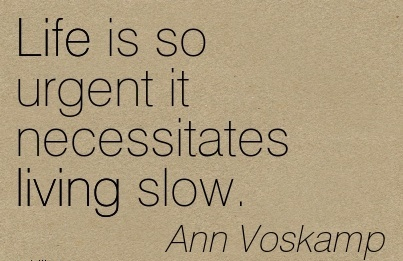 Life is so urgent it necessitates living slow.  - Ann Voskamp