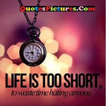 Marvelous Time Quote - Life Is Too Short, To Waste Time Hating Anyone.