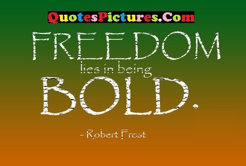 Motivational Freedom Quote -Freedom Lies In Being Bold.