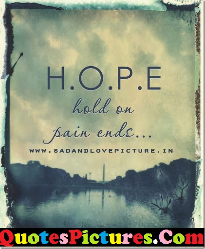 Nice Life Quote - Hope Hold On Pain Ends