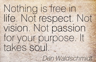 Nothing is free in life. Not respect. Not vision. Not passion for your purpose. It takes soul.