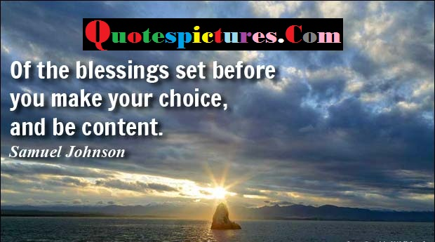 Of The Blessings Set Before You Make Your Choice By Samuel Johnson