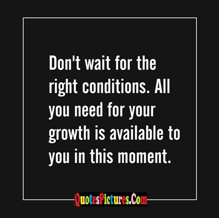 right conditions growth