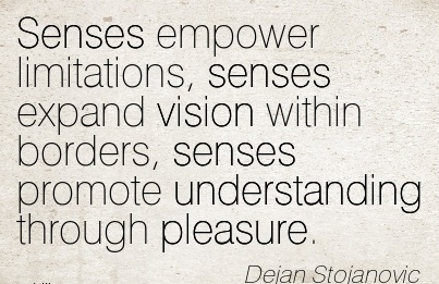 Senses empower limitations, senses expand vision within borders, senses promote understanding through pleasure.