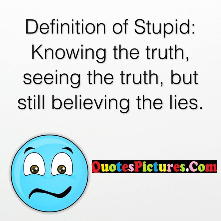 stupid truth seeing believing lies