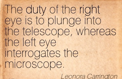 The duty of the right eye is to plunge into the telescope, whereas the left eye interrogates the microscope.