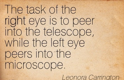 The task of the right eye is to peer into the telescope, while the left eye peers into the microscope.