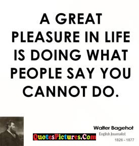True People Quote - A Great Pleasure In Life Is Doing What People Say You Cannot Do.