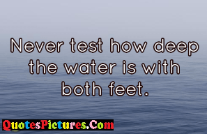 True Water Quote - Never Test Deep Water With Both Feet.