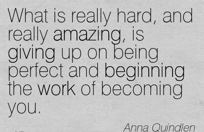 What is really hard, and really amazing, is giving up on being perfect and beginning the work of becoming you.  - Anna Quindlen